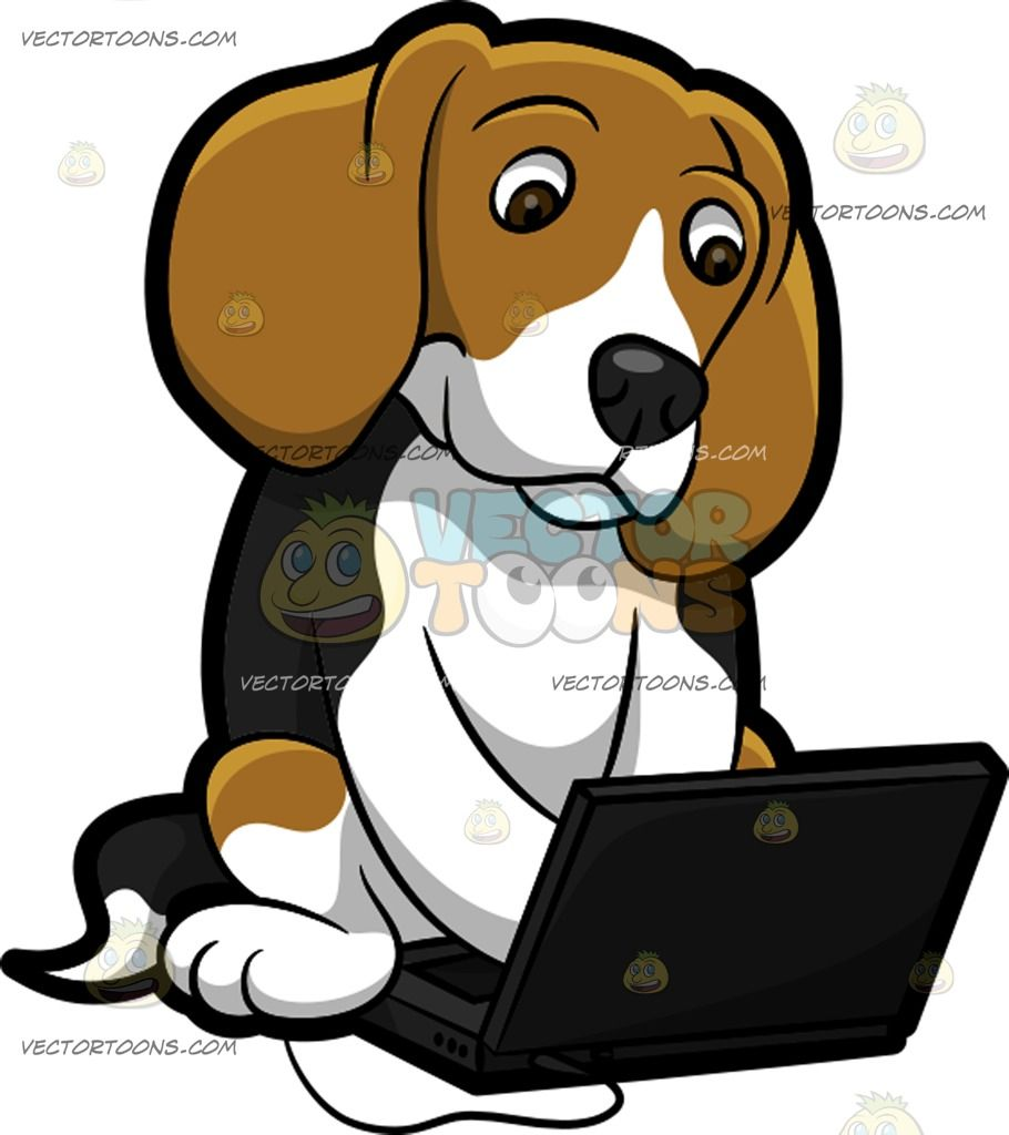 A using the laptop. Beagle clipart dpg