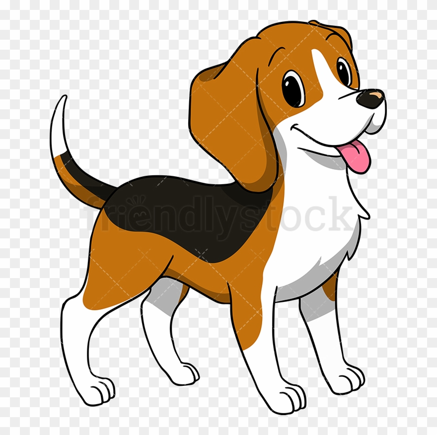 Beagle clipart dry dog. Happy wagging its tail