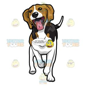 Beagle clipart happy puppy. Looking in mid stride