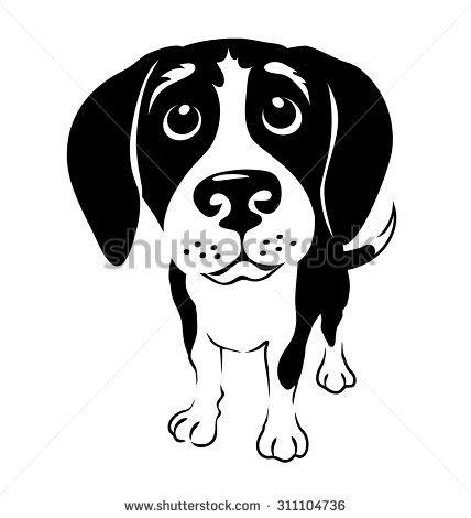 Beagle clipart head. Cartoon illustration of a