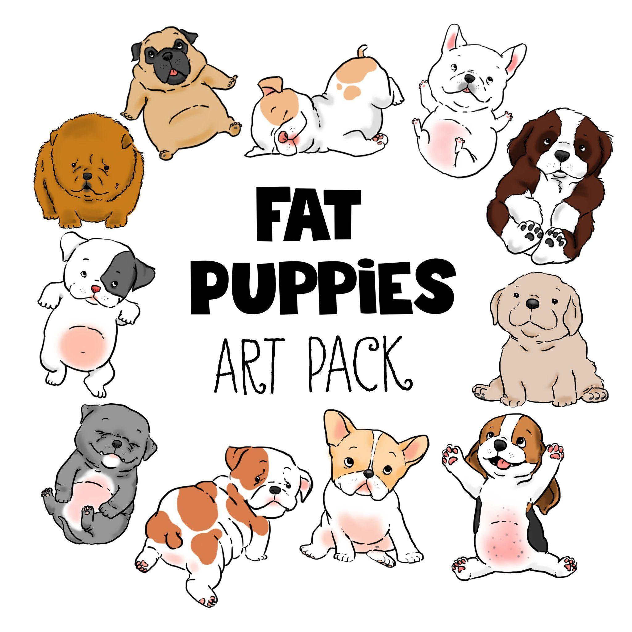 Beagle clipart kawaii. Dog cartoons portraits pug