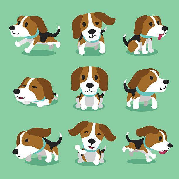 Beagle clipart kawaii. Cartoon character dog poses