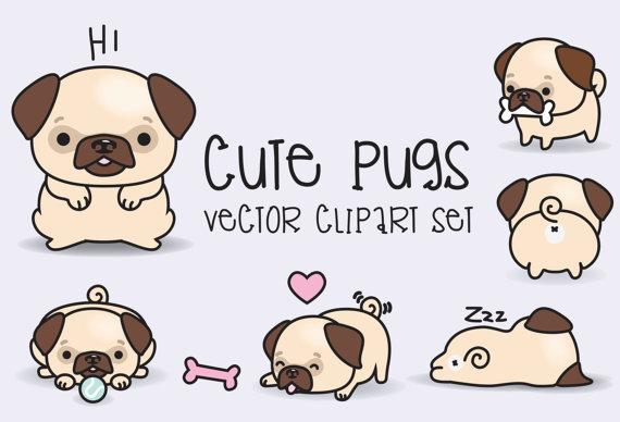 Beagle clipart kawaii. Premium vector pugs cute