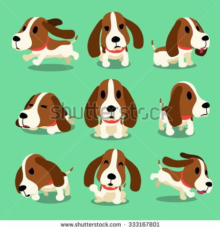Dog stock vectors vector. Beagle clipart kawaii