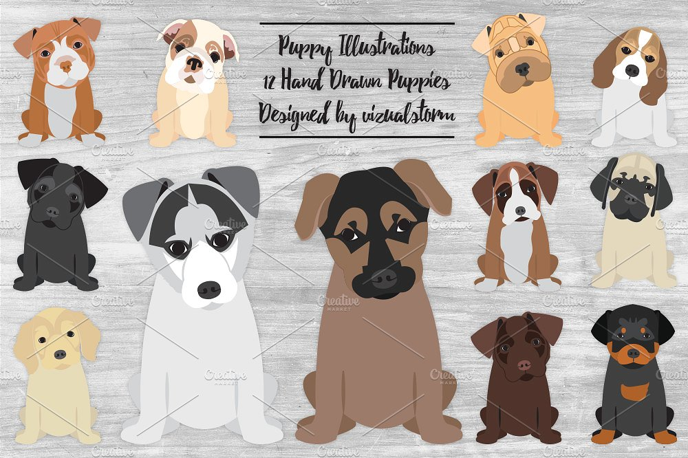 Beagle clipart one dog. Cute puppy illustrations creative