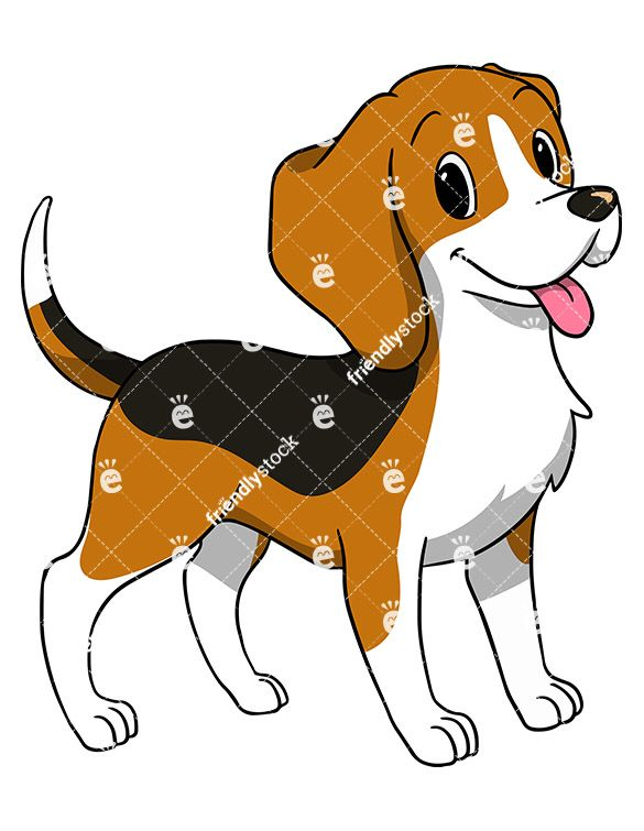 Beagle clipart playful puppy. Happy dog wagging its