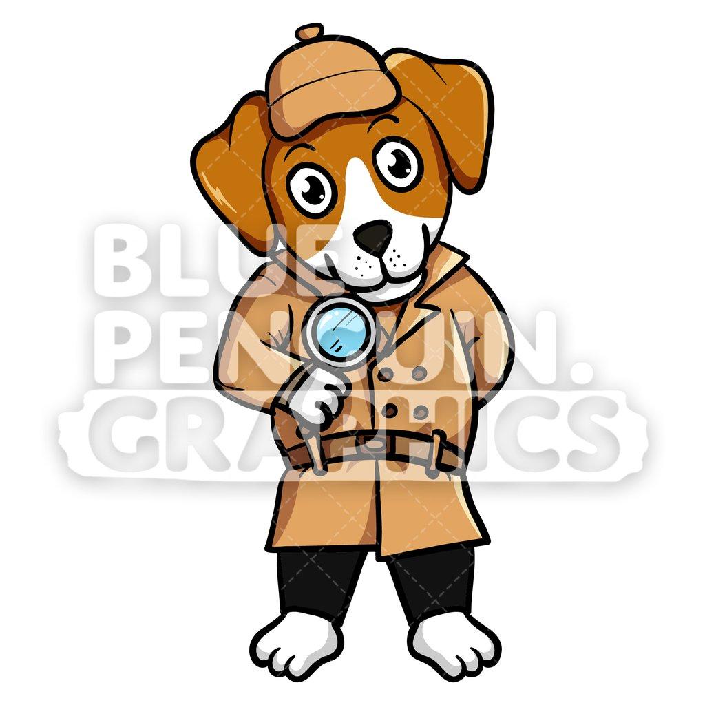 Beagle clipart puppie. Dog detective vector cartoon