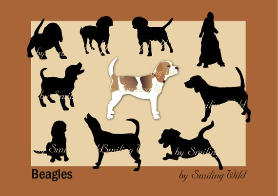 Svg dog breed silhouette. Beagle clipart puupy