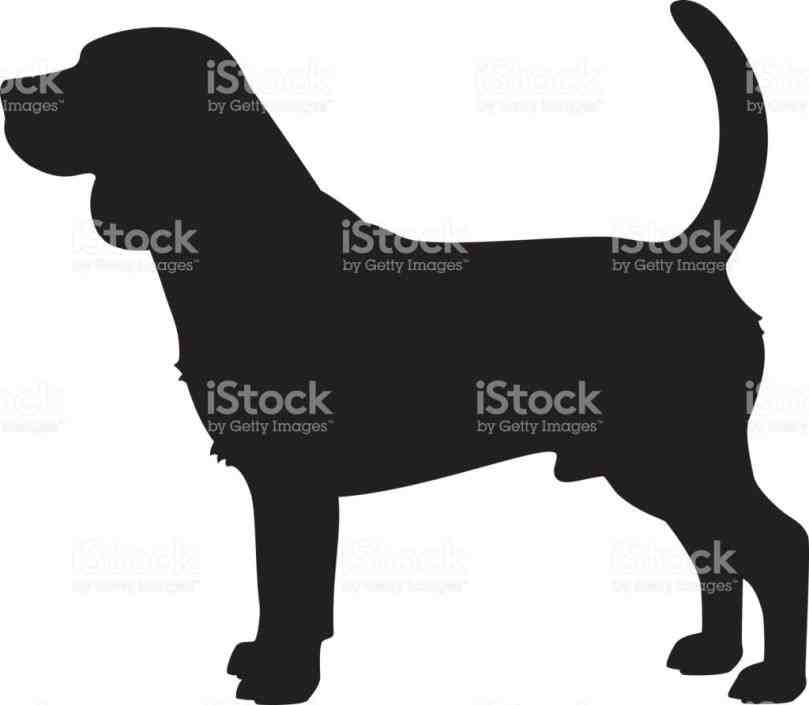 Beagle clipart silhouette. Black and white dog