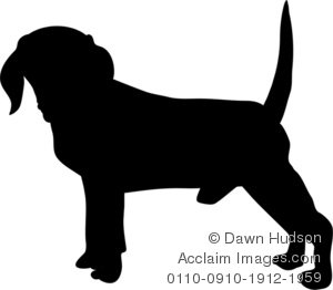 Beagle clipart silhouette. Illustration of a dog