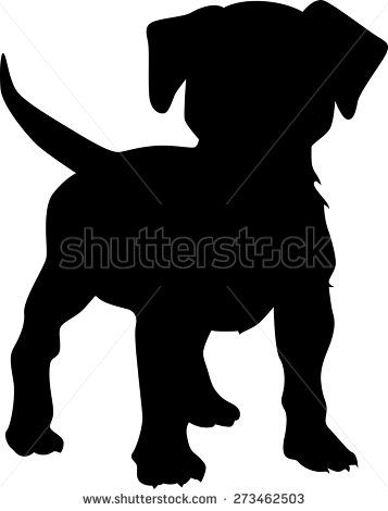 Puppy dog stock vector. Beagle clipart silhouette