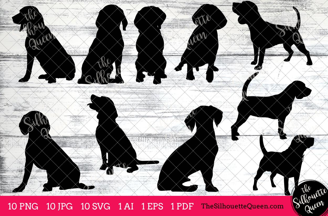 Beagle clipart silhouette. Dog clip art ai