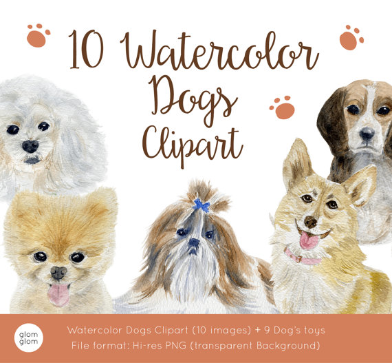 Beagle clipart transparent background. Watercolor dogs pomeranian chihuahua