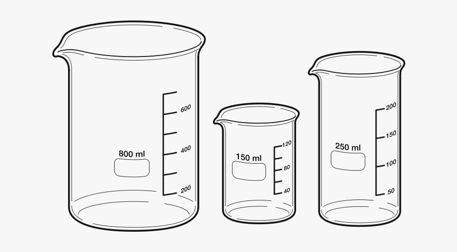 Laboratory apparatus drawing cliparts. Beaker clipart 250 ml