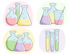 School set science classroom. Beaker clipart banner