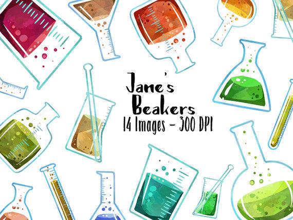 Beaker clipart banner. Watercolor science digital download