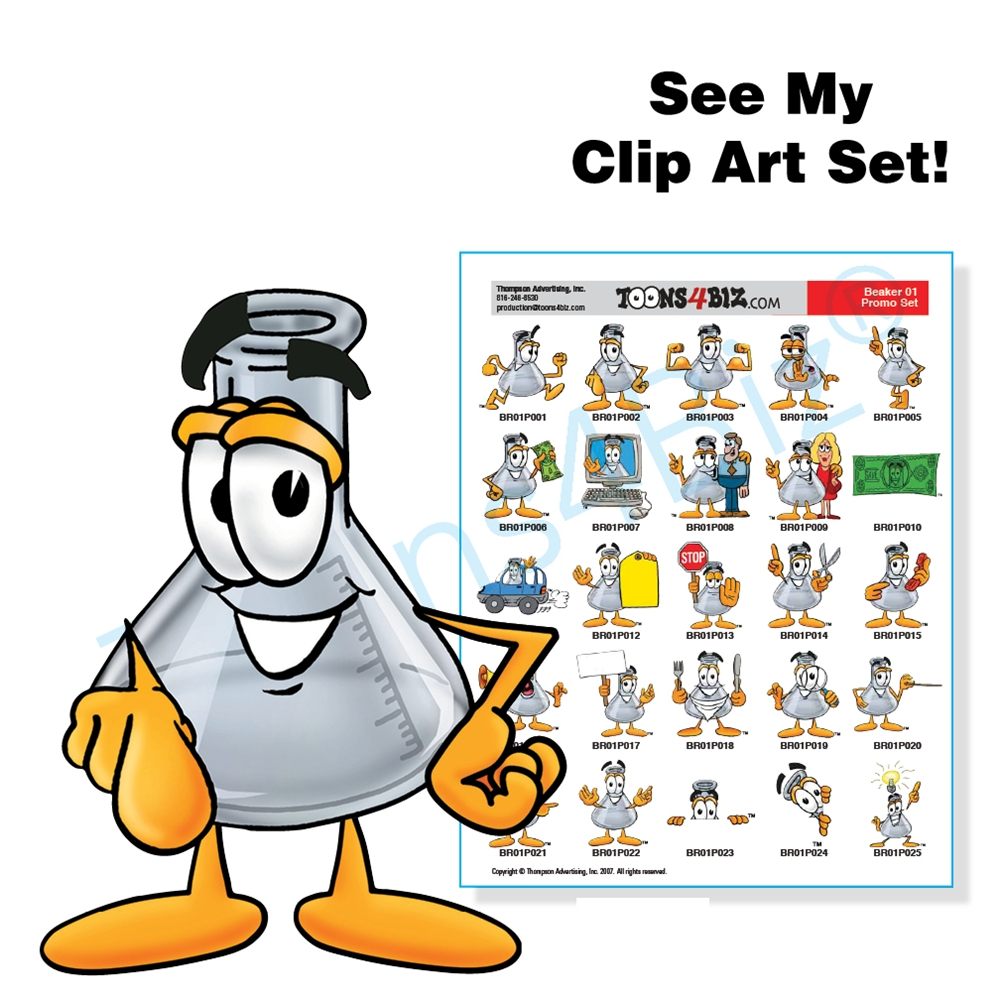 Beaker clipart cartoon. Science clip art set