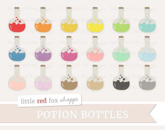 Potion bottle glass clip. Beaker clipart cute