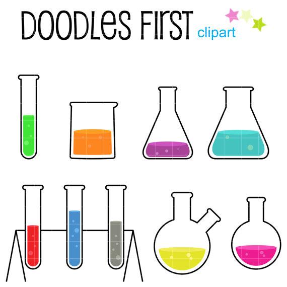Laboratory tools digital clip. Beaker clipart flask