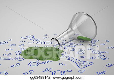 Stock illustrations green liquid. Beaker clipart spilled