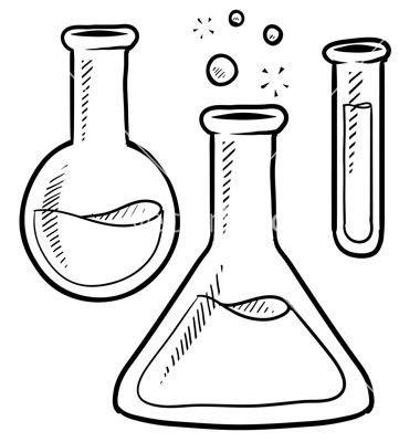 Doodle science lab beakers. Beaker clipart vector