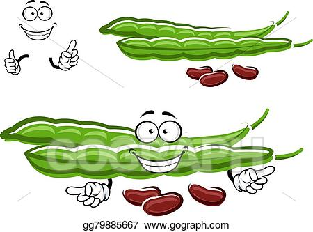 Beans clipart bean pod. Vector stock cartoon pods