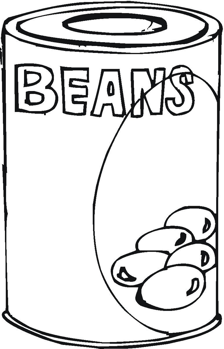 Beans clipart canned. Food black and white