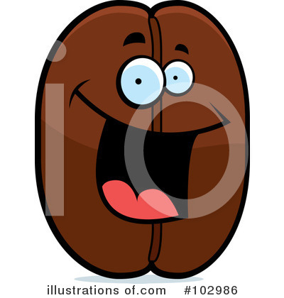 Bean clipart character. Coffee illustration by cory