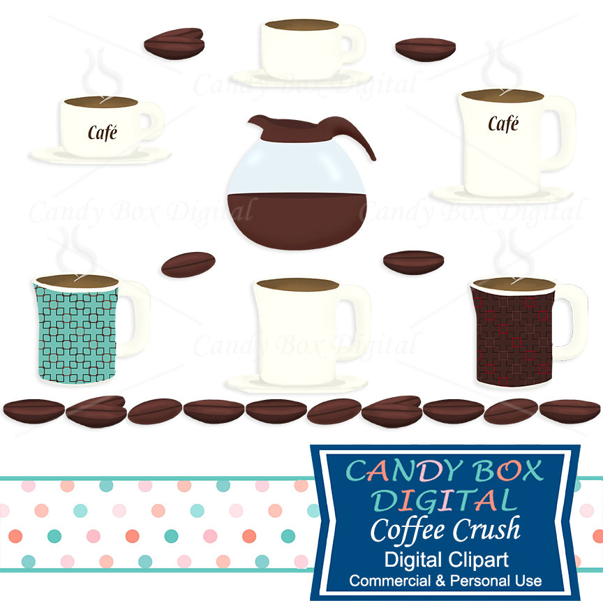 Coffee and cup pot. Bean clipart cute
