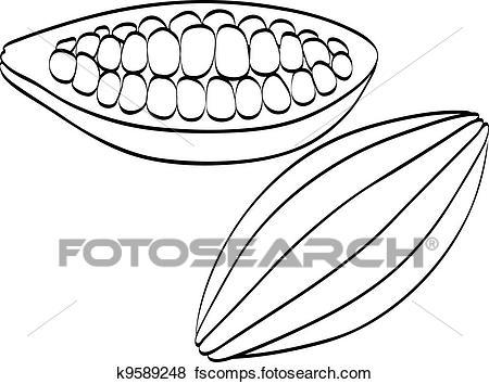 Bean clipart drawing. Cocoa clipartxtras clip art