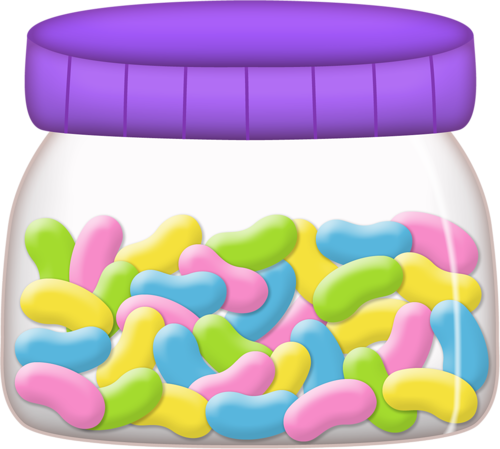 Happy jelly beans jar. Bean clipart easter