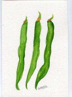 Original green beans watercolor. Bean clipart runner bean