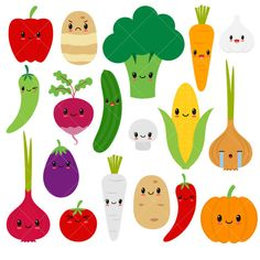 Kawaii vegetables veggies healthy. Bean clipart cute