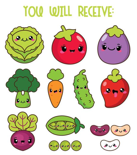 Kawaii vegetables veggies healthy. Beans clipart cute
