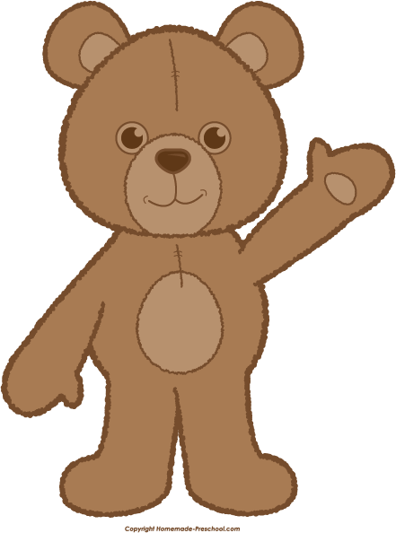 Bear clipart. Teddy waving brown png