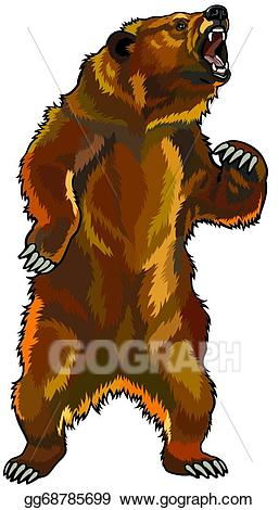 Bear clipart angry. Vector art grizzly drawing