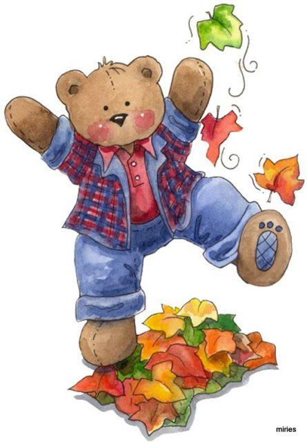 Fall teddy clip art. Bear clipart autumn