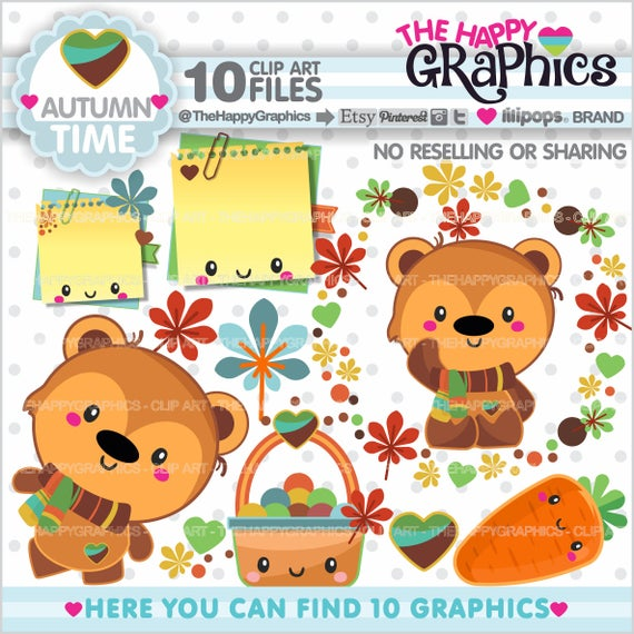 Graphic commercial use party. Bear clipart autumn