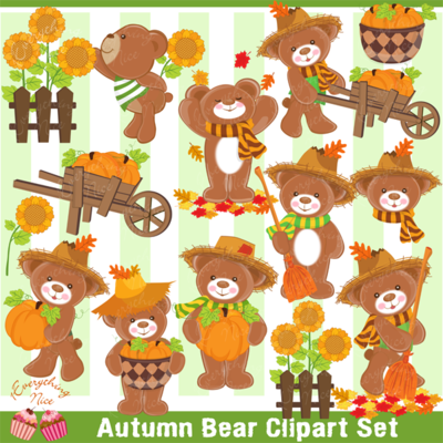 Bear clipart autumn. Fall set
