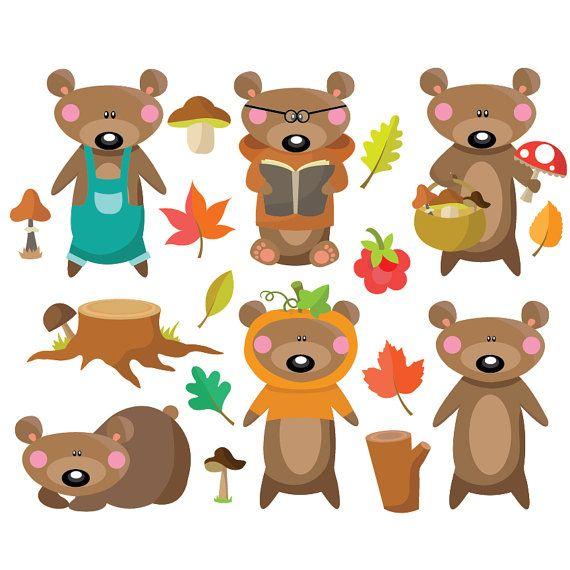 Bear clipart autumn. Vector set instant download
