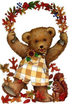 Bear clipart autumn. Fall teddy teddies clip