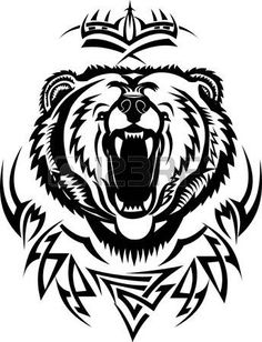 Grizzly head tattoo pinterest. Bear clipart beruang