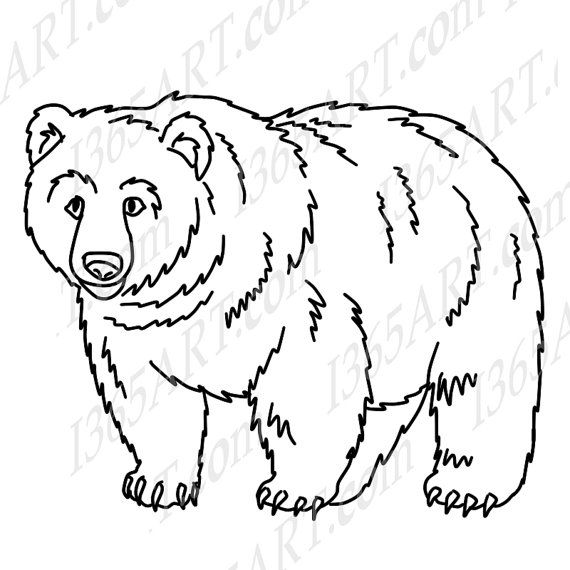 Grizzly face drawing at. Bear clipart black and white