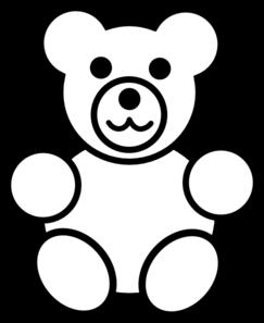 Circle teddy black and. Clipart bear easy