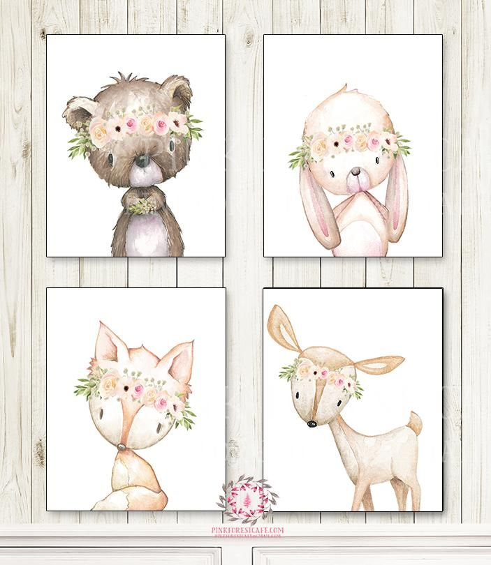 Lot bunny deer fox. Bear clipart boho