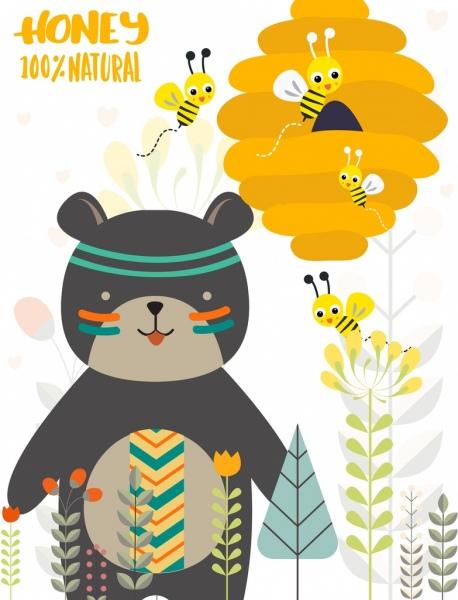 Bear clipart boho. Natural honey advertising bee