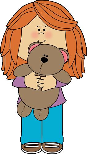 Girl with teddy clip. Bear clipart character