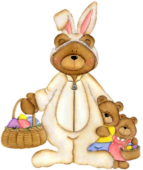 With basket png picture. Clipart easter bear