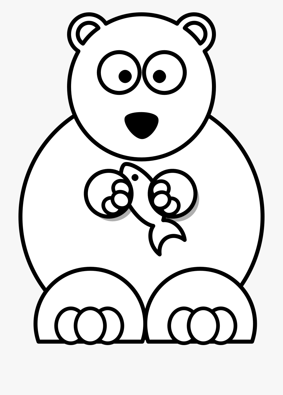 Black and white cute. Bear clipart easy