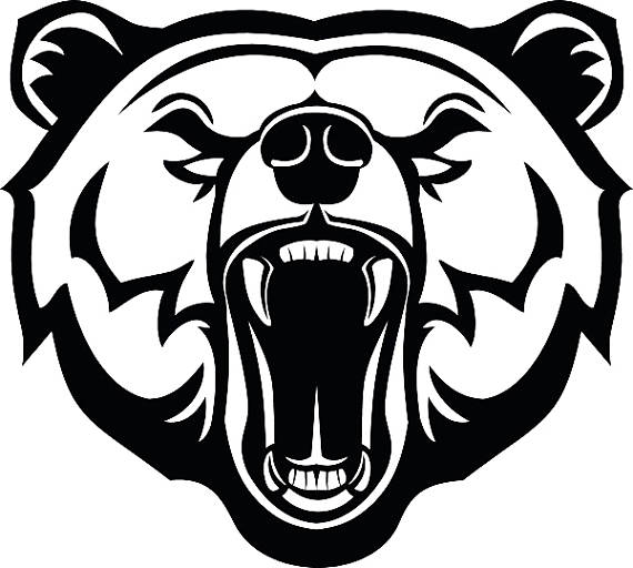 Bear clipart face. Grizzly head animal growling